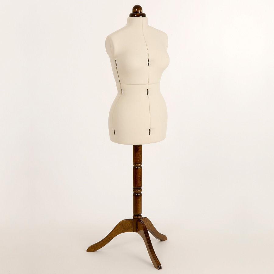 Adjustoform Lady Valet Medium Dressmakers Form Ecru/Walnut Stand